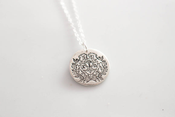 Chi Omega Crest Necklace in Silver