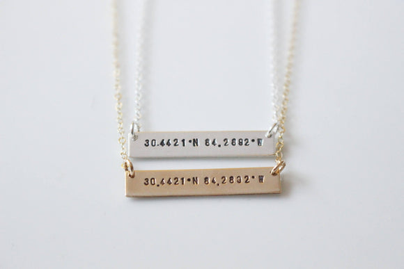Coordinate Necklace / Latitude Longitude Necklace  / Personalized GPS Location Necklace / Custom Coordinate Pendant/ Handstamped Necklace