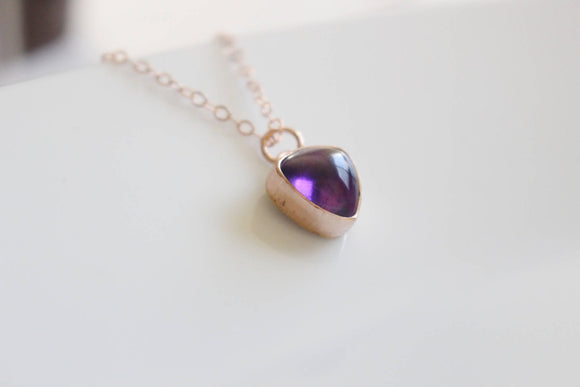 Pink Gold Amethyst Necklace February Birthstone Gift Rose Gold Necklace Gift For Wife Purple Stone Amethyst Gift Rose Gold Gift