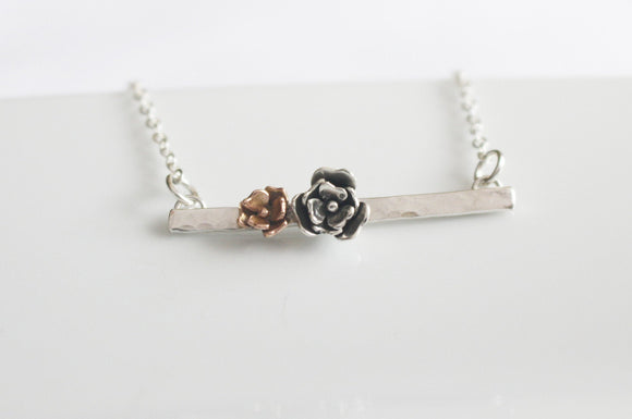 Flower Necklace Bar Pendant 14K Rose Gold and Sterling Silver