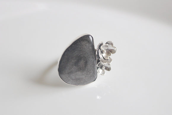 Silver Sheen Obsidian Flower Ring, Finished to Order in your Size