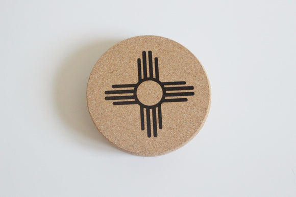 Zia Coasters / New Mexico Coasters / NM Gift / Cork Coasters