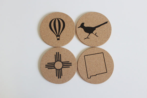 Zia Coasters / New Mexico Coasters / Coaster Pack 4 Designs/ NM Gift / Cork Coasters / State of New Mexico