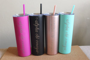 Alpha Chi Omega Skinny Tumbler, Cup Stainless Steel Water Bottle, Bid Day and Chapter Gift