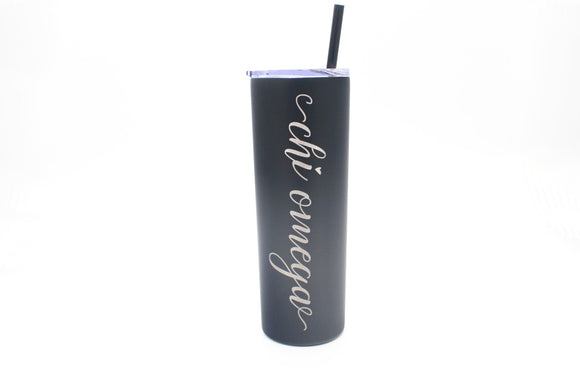 Chi Omega Tumbler, Skinny Cup Stainless Steel Water Bottle, Bid Day and Chapter Gift / Chi Omega Sisterhood Gift