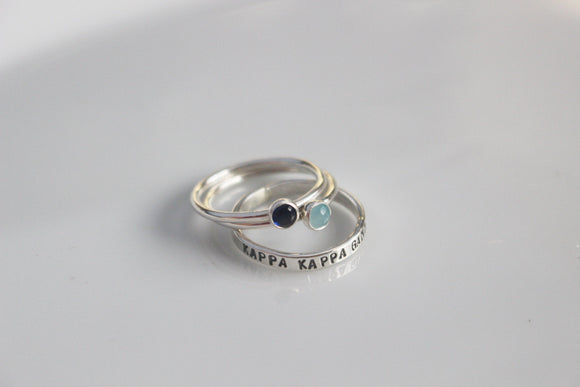 Kappa Kappa Gamma Ring / KKG Blue and Light Blue Gemstone Ring / Stacking Rings for Sorority / Sorority Colors