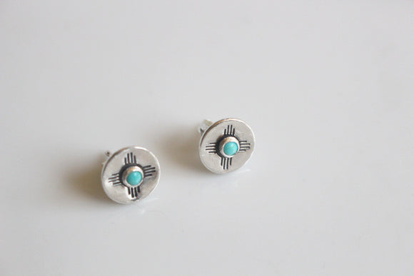 Turquoise Zia Earrings / New Mexico Earrings / State of New Mexico Zia Gift