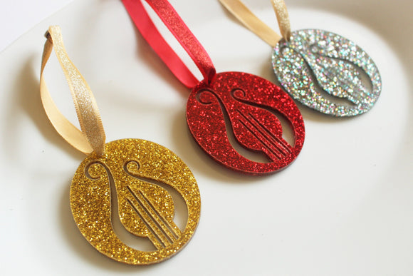 Lyre Ornament Glitter Ornament Red or Gold Acrylic Christmas Ornament