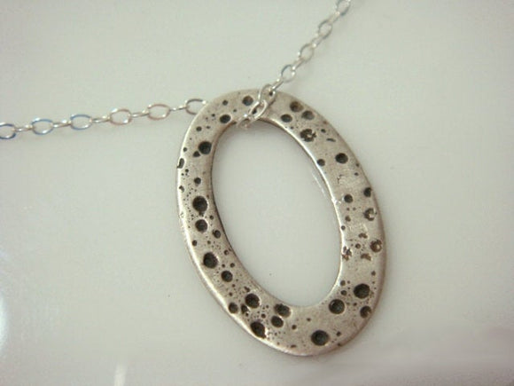 Patterned Oval Necklace Precious Metal Clay Delicate Necklace