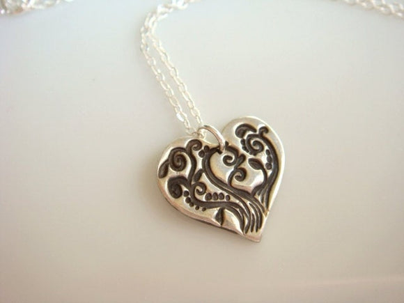 PMC Stamped Heart Necklace in Fine Silver