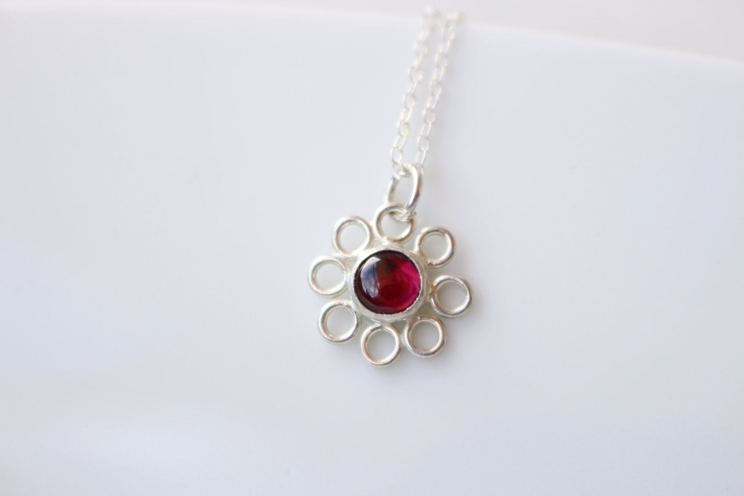 Inspirational Jewelry Gifts for Her January Birthstone Red Stone Necklace Garnet Gemstones Yoga Jewelry Lotus Flower Pendant Necklace