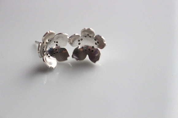 Cherry Blossom Earrings / Sterling Silver Cherry Blossom Flower Earring Studs / Sterling Stud Earrings / Flower Post Earrings in Sterling