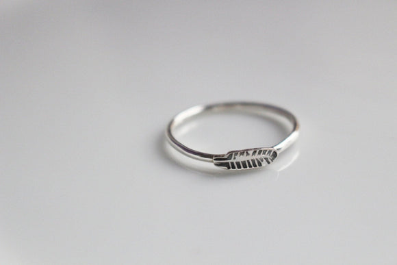 Feather Ring in Sterling Silver / Thin Band Stackable Feather Stamped Ring / Made to Order in Your Size