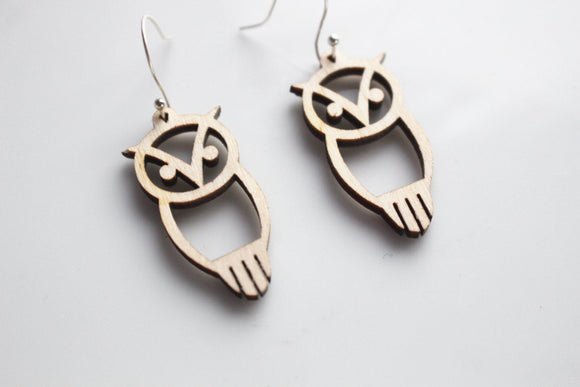 Chi Omega Owl Earrings // Wooden Chi Omega Owl Earrings // Greek Life Sorority Jewelry // Chi O Owl