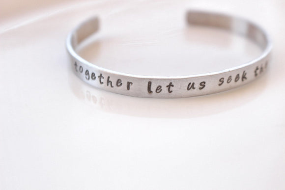 Together Let Us Seek the Heights Aluminum bracelet // Alpha Chi Omega Open Motto Bracelet
