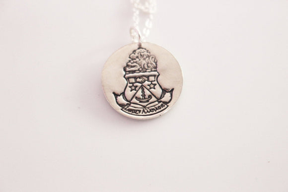 Alpha Delta Pi Coat of Arms Necklace in Silver // ADPi Crest Necklace // Sorority Necklace Alpha Delta Pi Greek Licensed