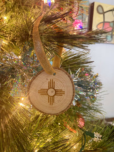 Wood Slice Zia Ornament