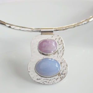 Blue Chalcedony and Kunzite Collar Necklace