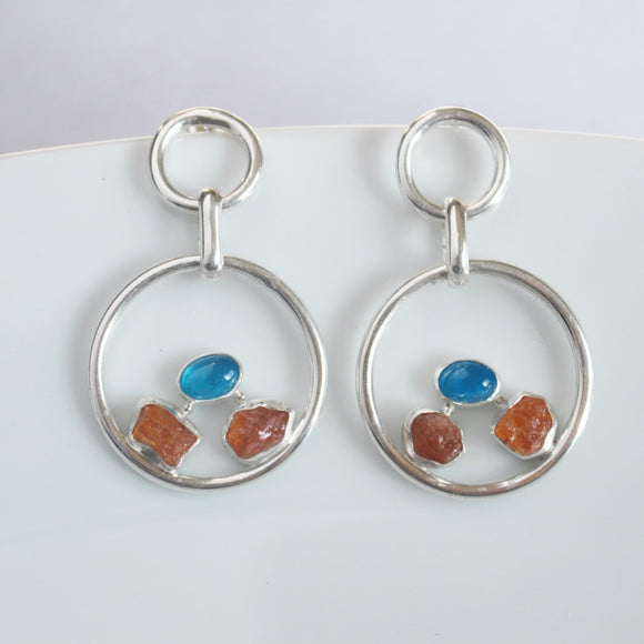 Spessartite and Apatite Large Circle Earrings