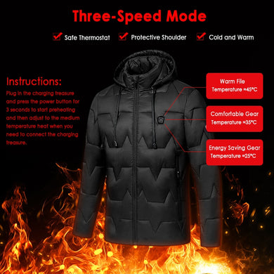 Outdoor Unisex Heated Coat USB Electric Battery Long Sleeve