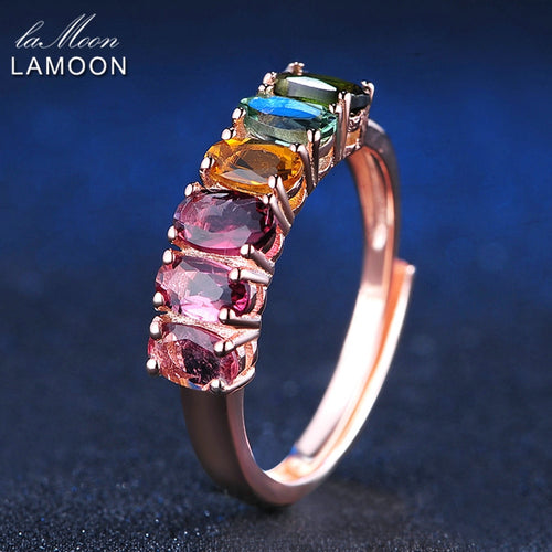 Multi-color Tourmaline Rings For Women 100% Real Natural Gemstone