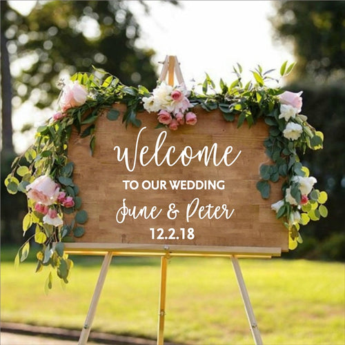 Personalized Wedding Welcome Sticker Sign Bride and Groom Names