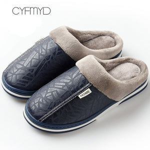 Unisex Non-slip large size 7-15 Leather House Slippers