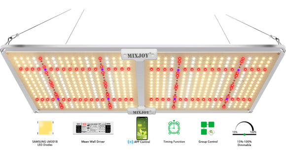 Smart Led Grow Lights GL2000s/220W for Indoor Plants, with Samsung LM301 Diodes 628pcs LEDs for 2x4ft