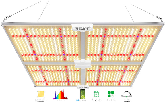 Smart Led Grow Light, GL4000s/450W for Indoor Plants, with Dimmable,Group,Timing Functions, Red/IR/UVA 1256pcs LEDs for 5x5ft