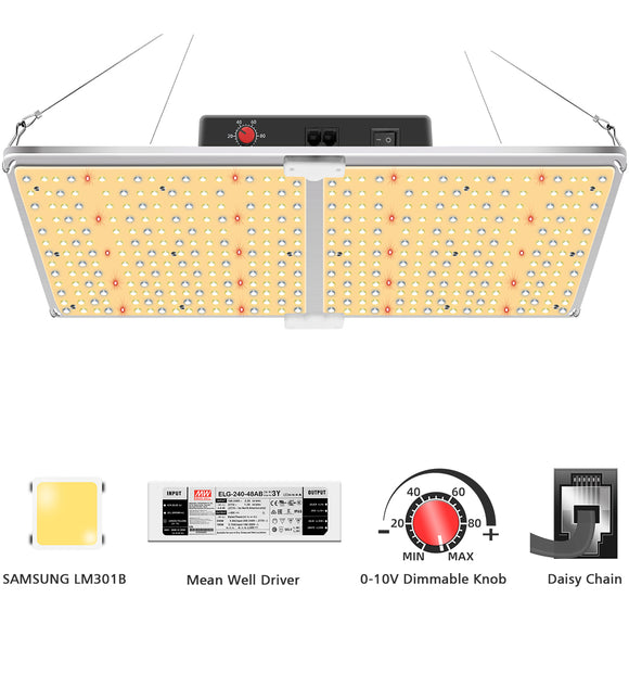 GL2000-220W LED Grow Light with Samsung LM301b& Mean Well Driver, Daisy Chain Dimming, 606pcs Leds