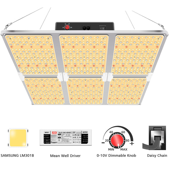 GL6000d/600W LED Grow Light with Samsung LM301&Daisy Chain Dimming, full spectrum for indoor plants