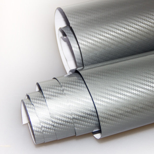 1.52x0.5Meter 5D carbon fiber vinyl film car wrap film 5D carbon fiber car sticker free shipping - Silver