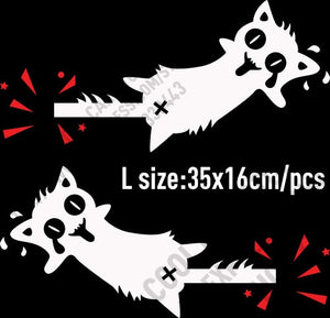 10 Pairs High Quality Vinyl Reflective Funny Cat Car stickers and Decals Car Styling For All Cars - L white and red