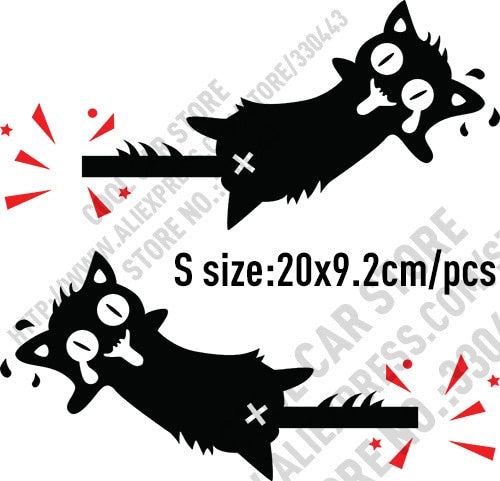 10 Pairs High Quality Vinyl Reflective Funny Cat Car stickers and Decals Car Styling For All Cars - S black and red