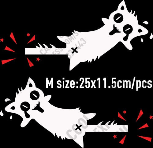 10 Pairs High Quality Vinyl Reflective Funny Cat Car stickers and Decals Car Styling For All Cars - M white and red