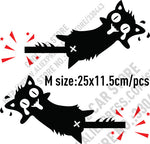 10 Pairs High Quality Vinyl Reflective Funny Cat Car stickers and Decals Car Styling For All Cars - M black and red