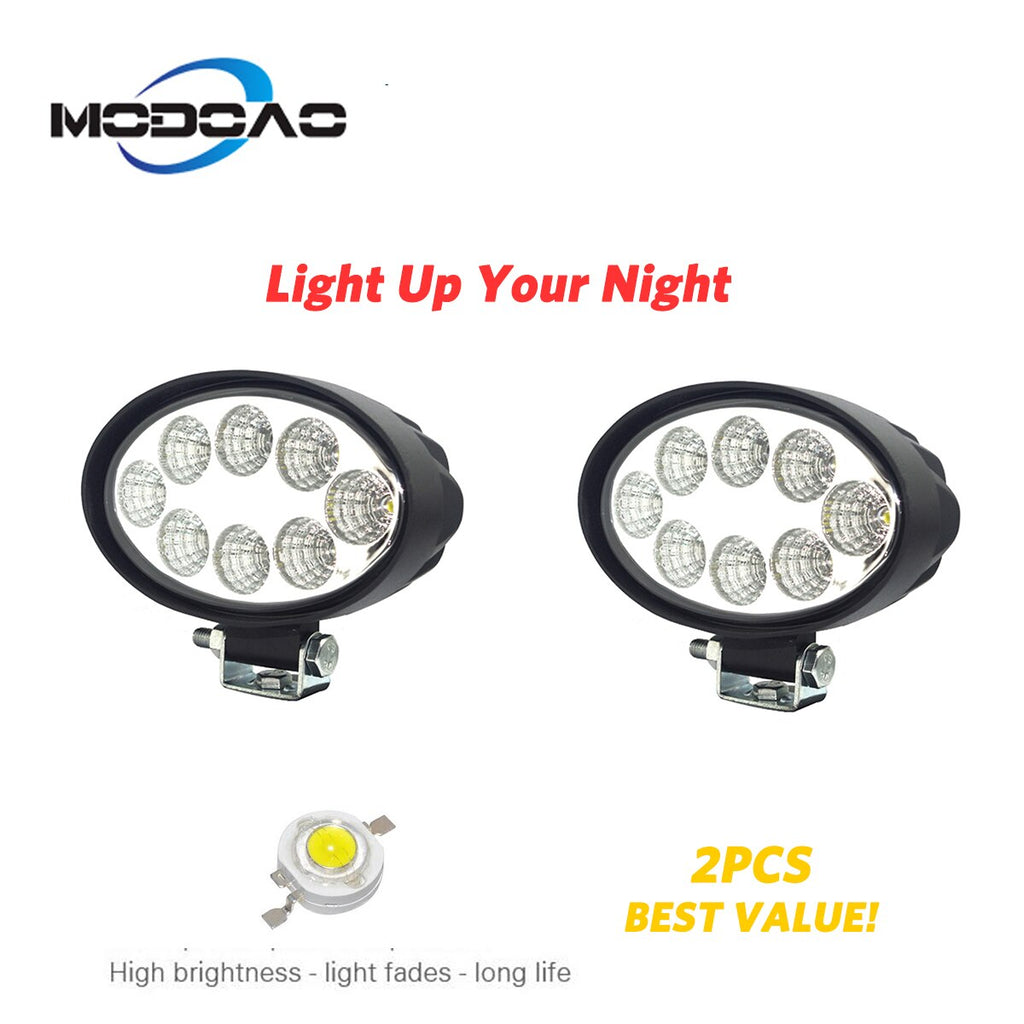 2000Lm 24W 8 Led Oval Car  Work Light Spot Beam or Floodlight Beam for Off Road,SUV,Truck    Trailer,Atv,Utv