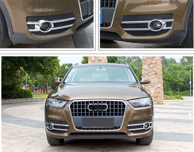 2pcs Chrome Front Fog Lamp Light Cover Trims for Audi Q3 2012 2013 2014 2015