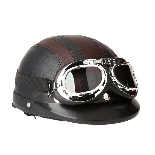 54-60cm Retro Style  Motorcycle Scooter Open Face Half Leather Helmet with Visor UV Goggles - Brown