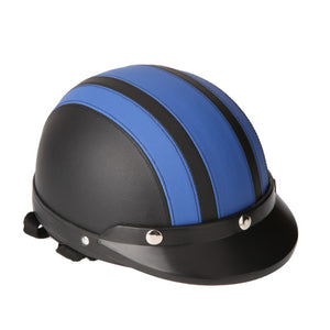 54-60cm Retro Style  Motorcycle Scooter Open Face Half Leather Helmet with Visor UV Goggles - Blue