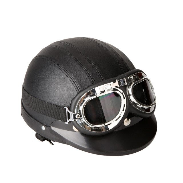 54-60cm Retro Style  Motorcycle Scooter Open Face Half Leather Helmet with Visor UV Goggles - Black