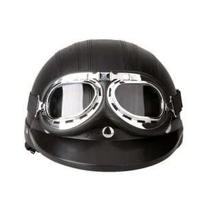 54-60cm Retro Style  Motorcycle Scooter Open Face Half Leather Helmet with Visor UV Goggles