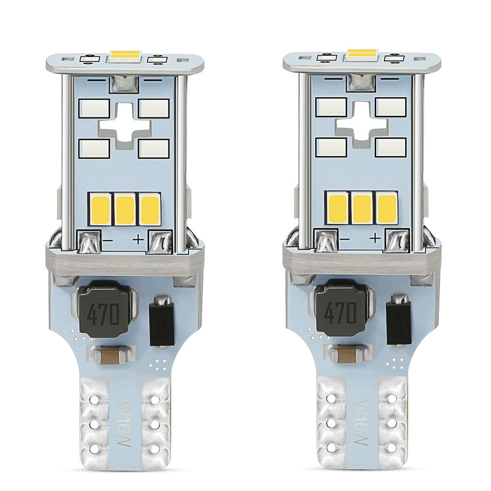 AUXITO 2x 1000LM T15 W16W LED Canbus Bulbs OBC Error Free Car Backup Reverse Lights 921 912 T15 LED Bulb Car Reverse Lamp White