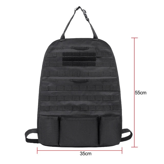 Auto Car Seat Back Organizer Storage bag Molle Vehicle Panel Pouch bag Cover Multi Poket Brown Car Styling - Black