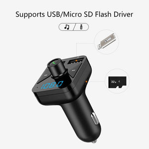 Bluetooth Car FM Transmitter Wireless Radio Adapter MP3 Player Plus USB charger Support music format MP3/WMA/APE/FLAC/WAV - Black