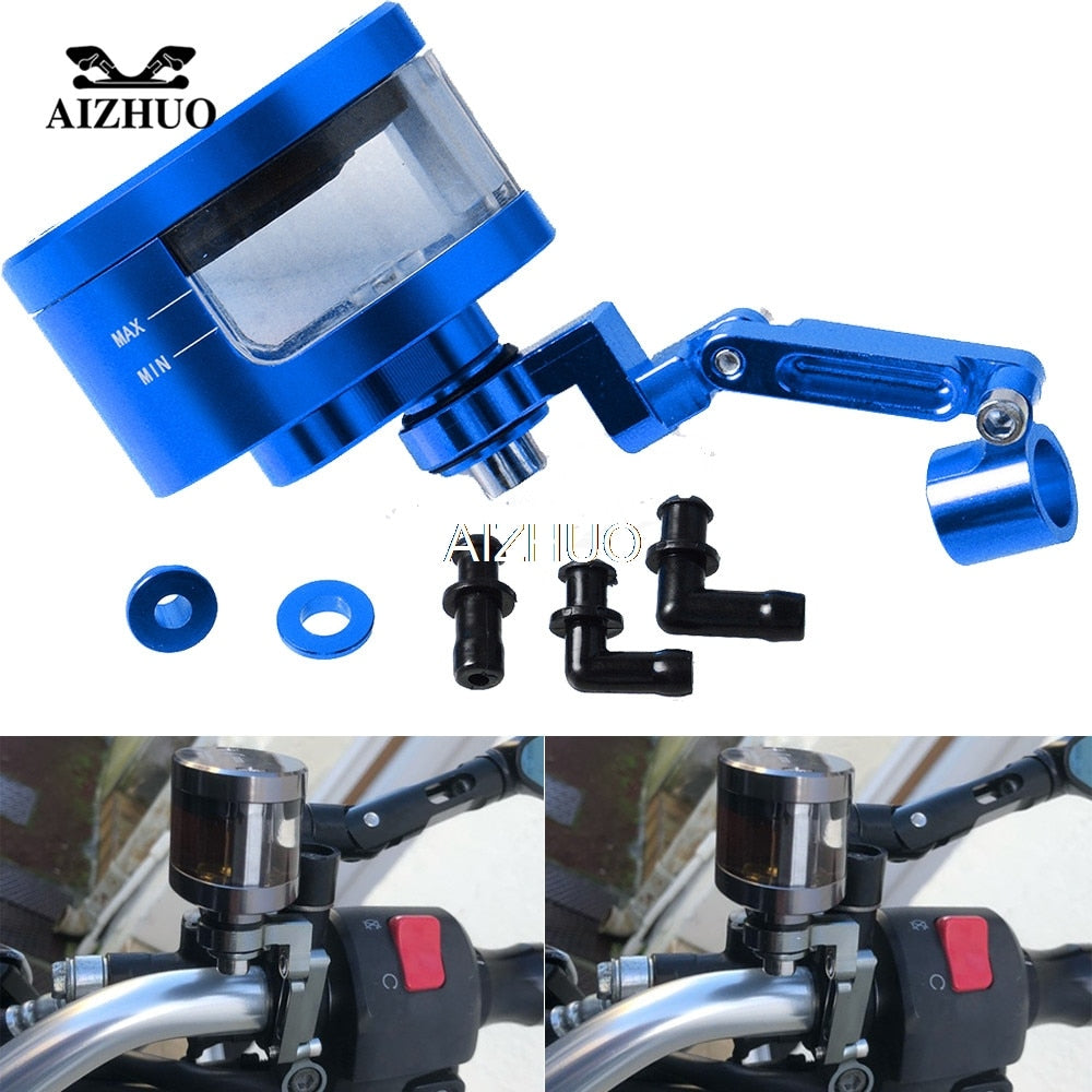 CNC Motorcycle Brake Fluid Oil Reservoir Cup Tank+Support Bracket For SUZUKI GS500 Bandit 650S DL1000/V-STROM SV1000 GSX-S750
