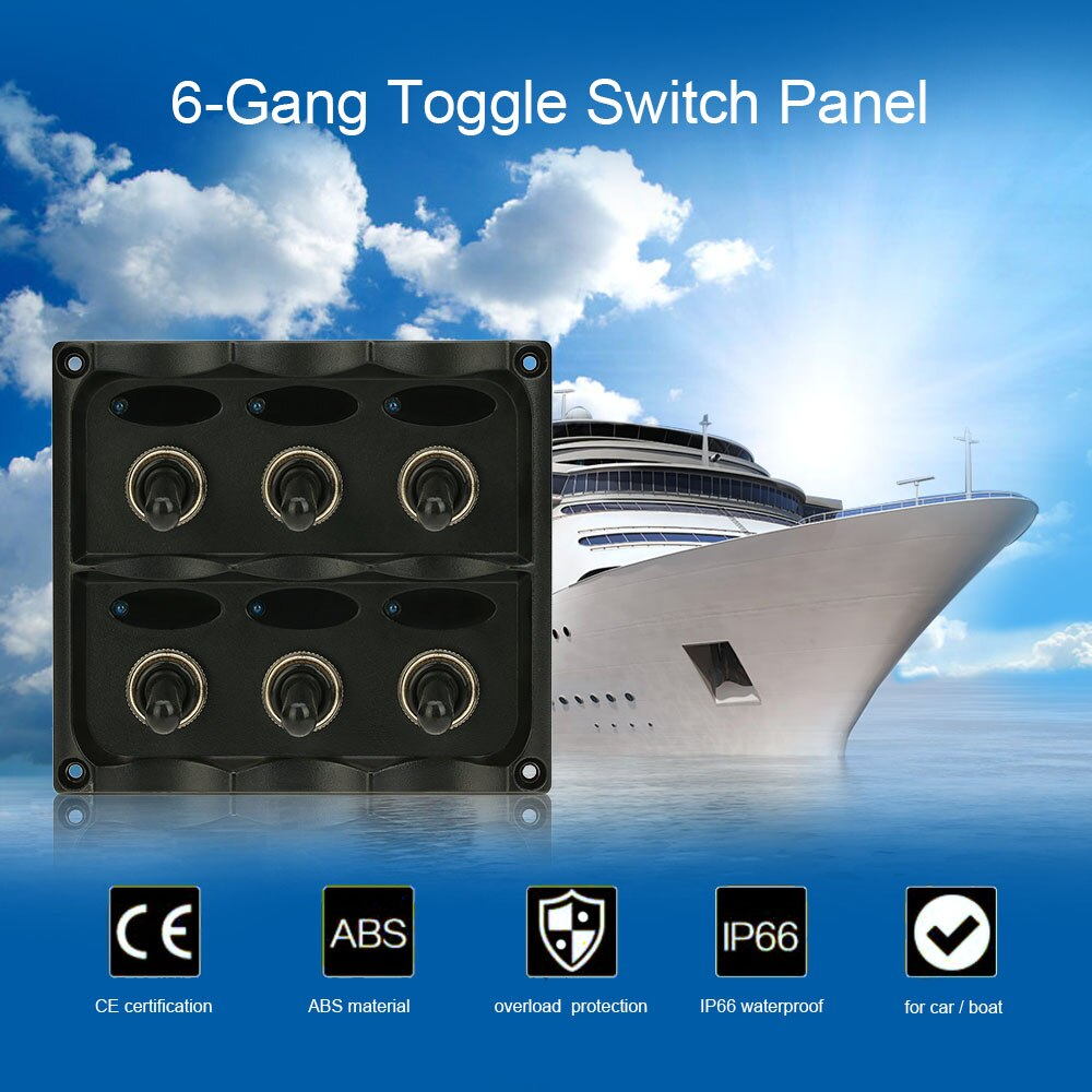KKMOON  Waterproof  12V-24V 6-Gang Toggle Switch Panel with Fuse LED Indicators DIY Switch