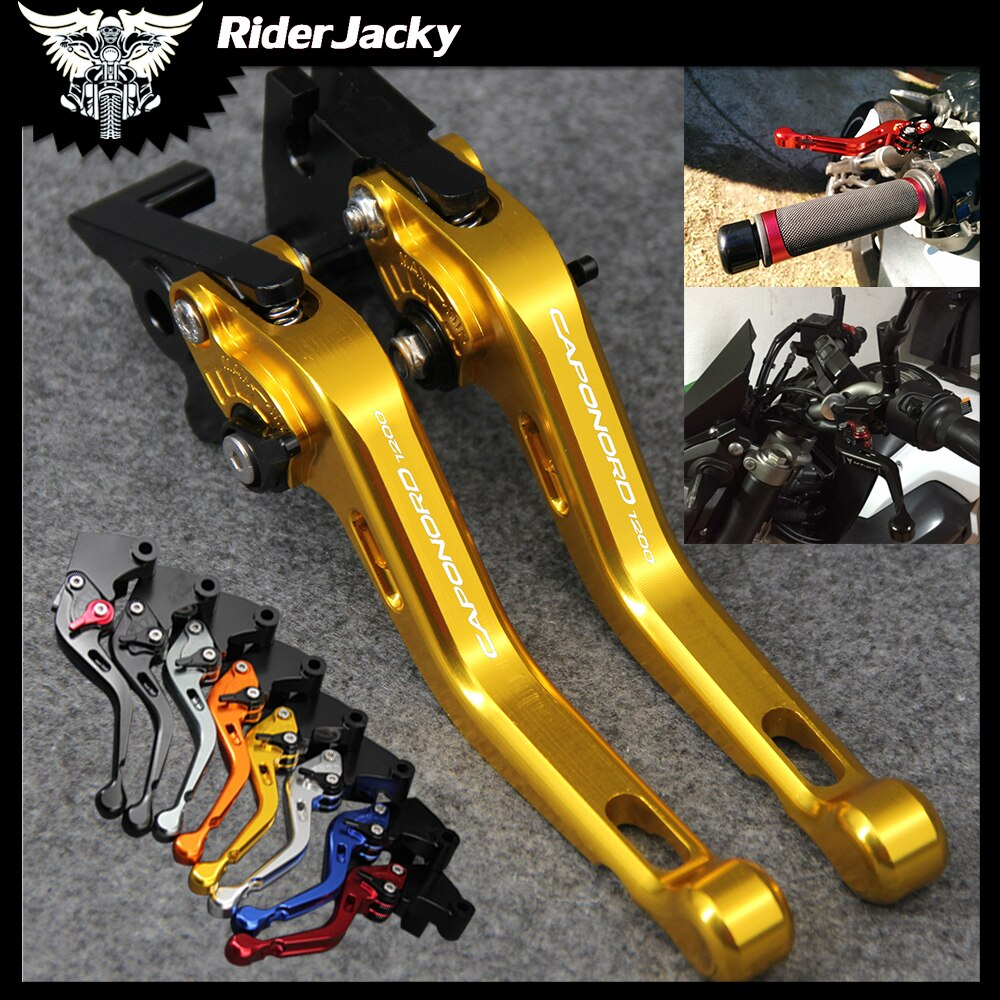 Laser Logo Gold CNC Motorcycle Short Brake Clutch Levers For Aprilia CAPANORD 1200/Rally 2014-2017 2015 2016