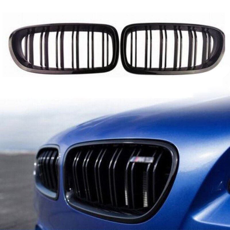 Pair Gloss Matt Carbon Chrome Glossy Black Color Front Kidney Grill Grille For 11-16 4D Sedan/5D Touring 5 Series