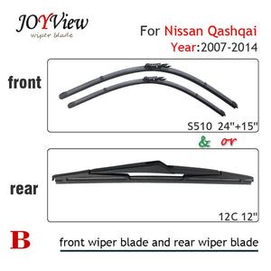 "S510 24""+15"" CAR WIPER BLADE AND 12C REAR WIPER BLADE FIT FOR 2007-2014 NISSAN QASHQAI, HIGH QUALITY WINDSCREEN WIPER"